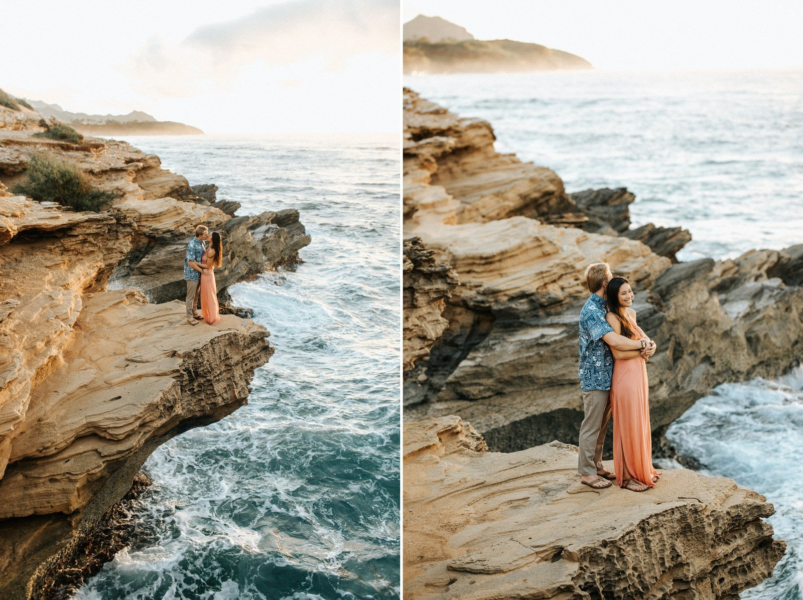 A couple watches the sunrise during their engagement session in Kauai