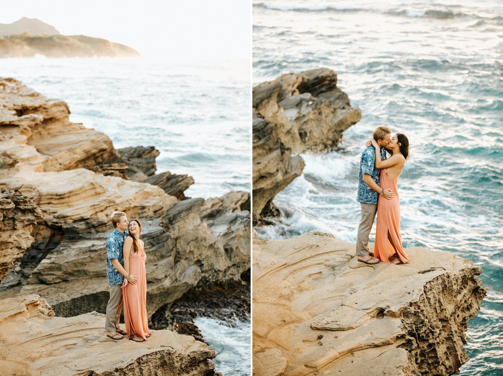 A young couple stands on the cliffs in Kauai during their engagement session