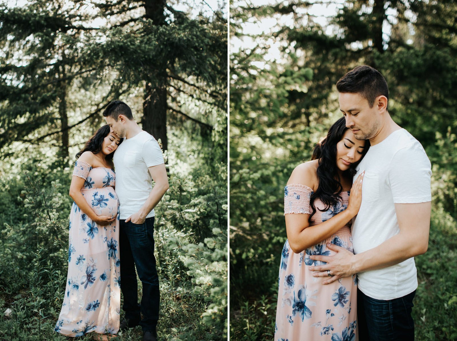 A gorgeous couple hugs during their engagement session