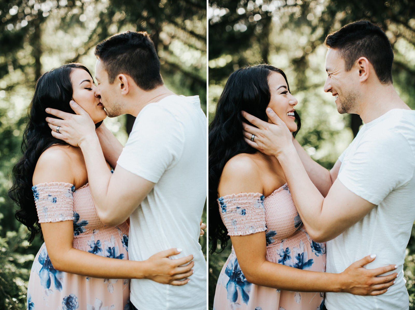 A couple holds each other during their engagement session