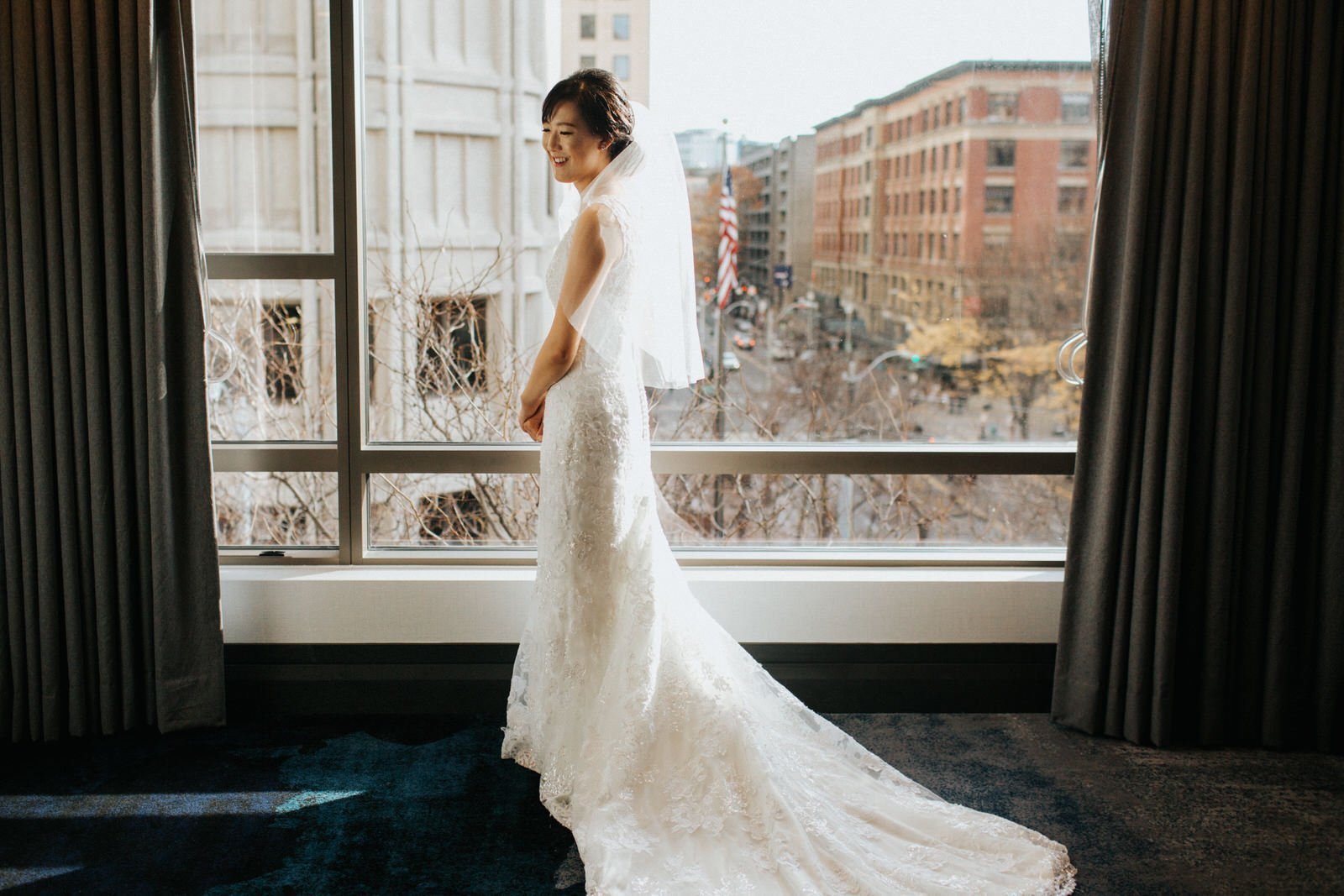 The bride in the window of hotel 1000