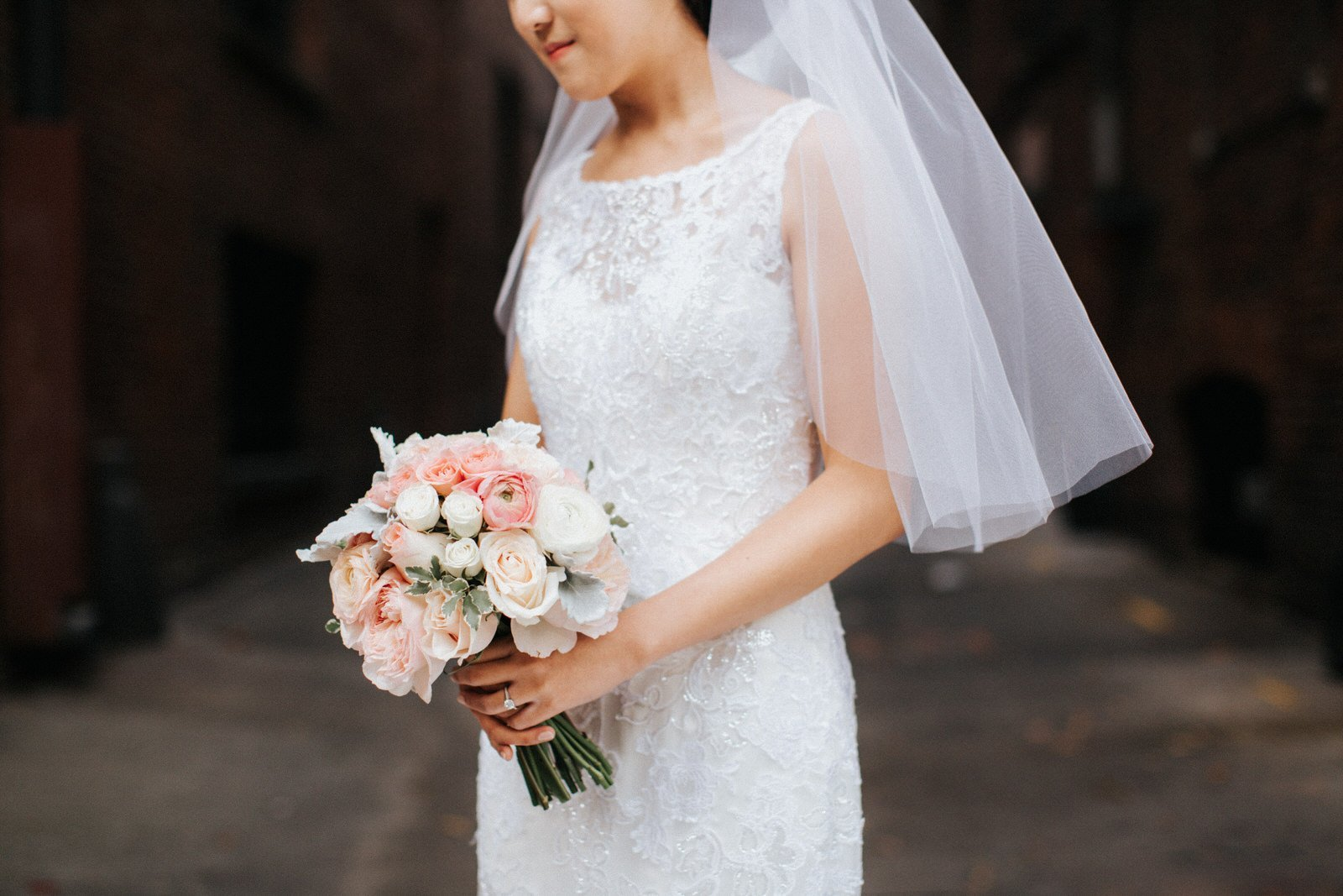 The bride holds her bouquet during portraits