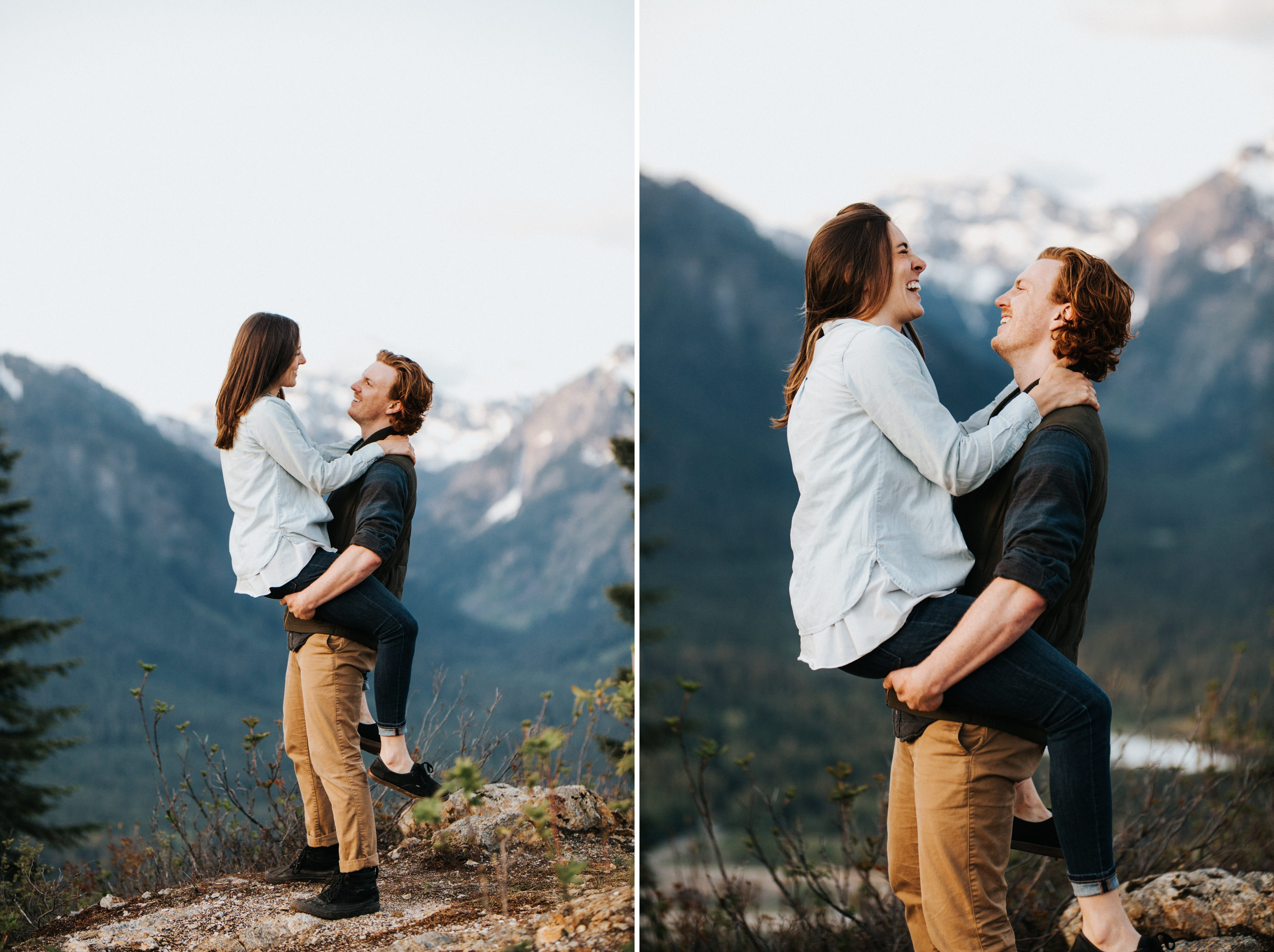 A playful couple laughs during their mountain top engagement session at snoqualmie pass