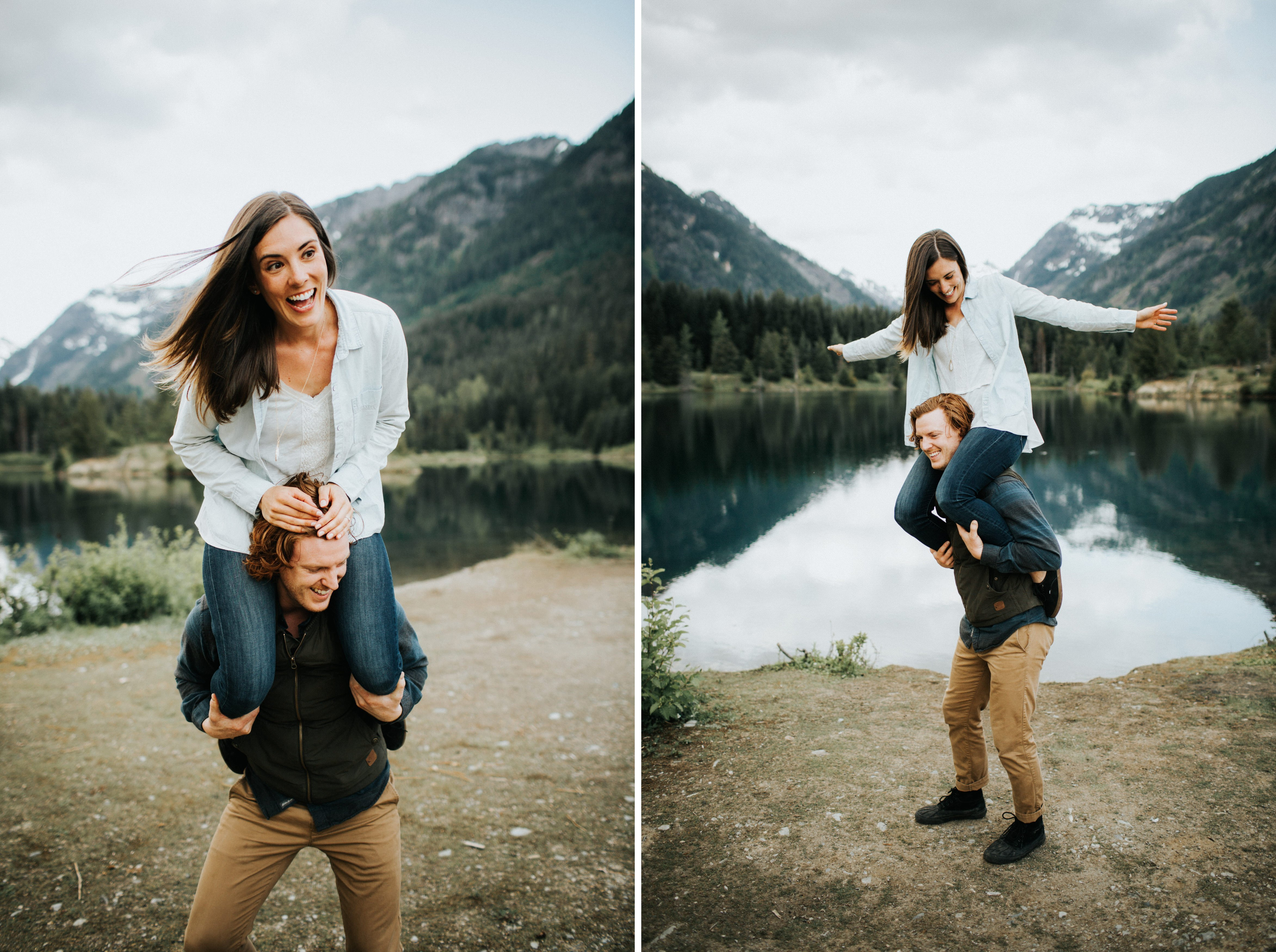 A playful couple laughs during their pnw engagement session at gold creek pond
