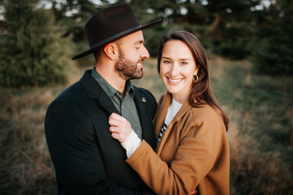 A gorgeous couple during their sunset engagement session at Discovery Park