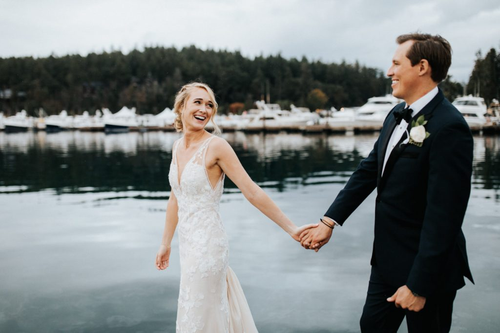A gorgeous couple during their Roche Harbor Resort Wedding on San Juan Island. Photographed by Wiley Putnam Photography.