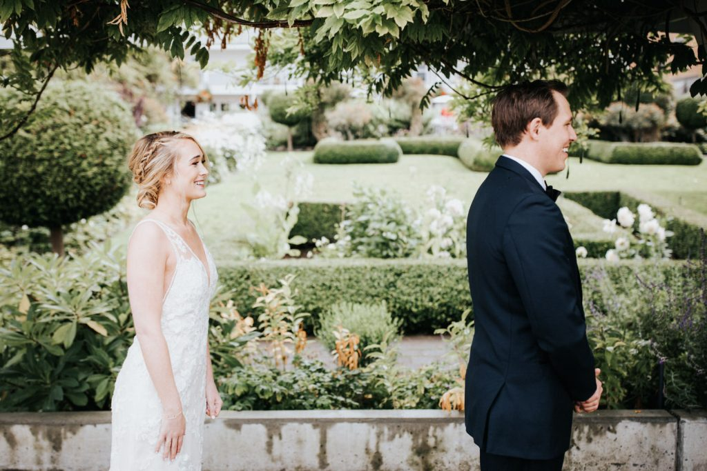 The first look during a Roche Harbor Resort Wedding.