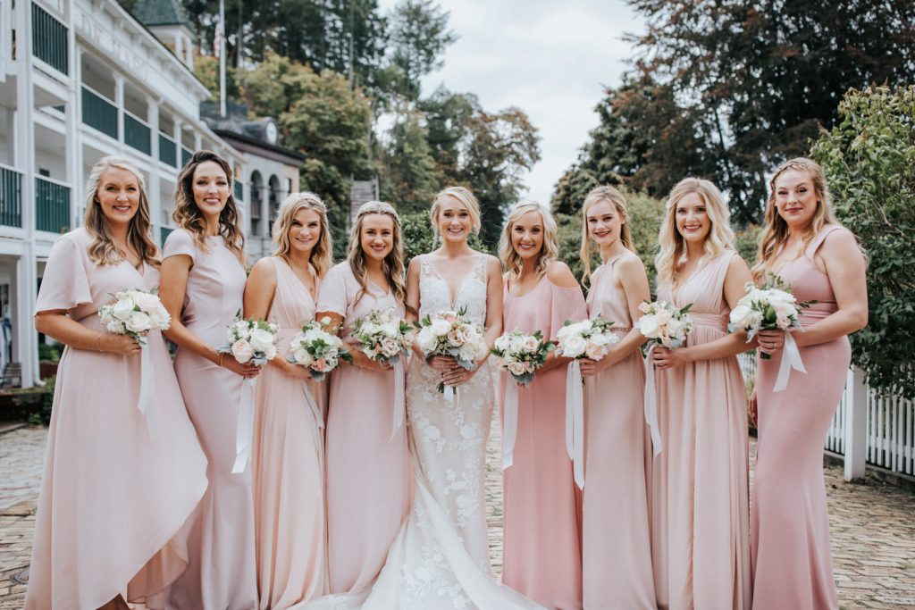 The bridesmaids at a wedding on Roche Harbor Resort on San Juan Island.