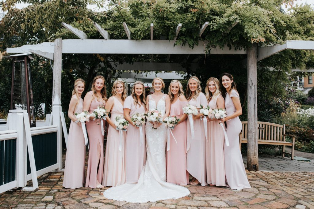 The bridesmaids during a gorgeous wedding at Roche Harbor Resort.