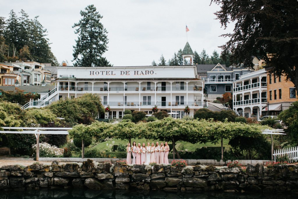 A gorgeous wedding party at Roche Harbor Resort on San Juan Island. Photographed by Wiley Putnam.
