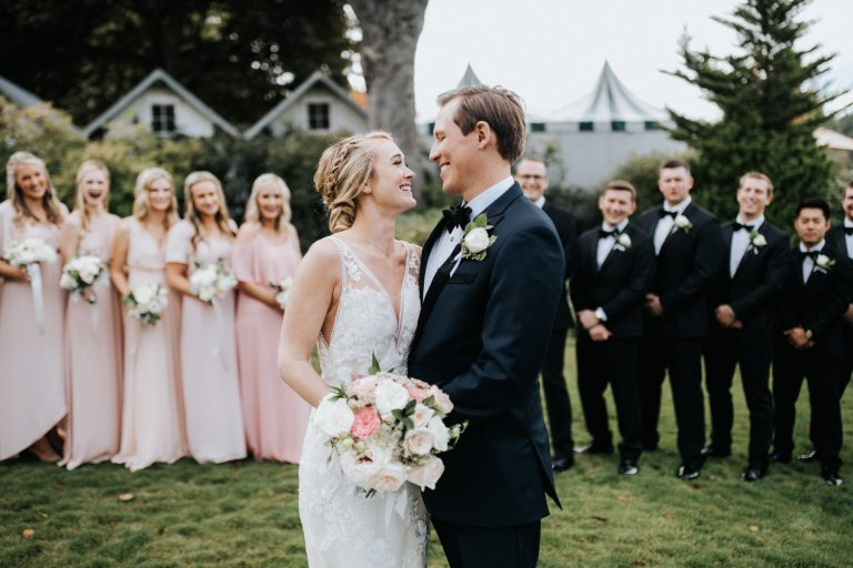 A gorgeous Roche Harbor Resort wedding party.