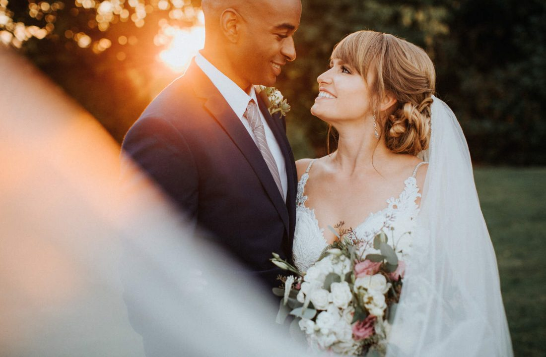 A gorgeous couple during their wedding at Lord Hill Farms