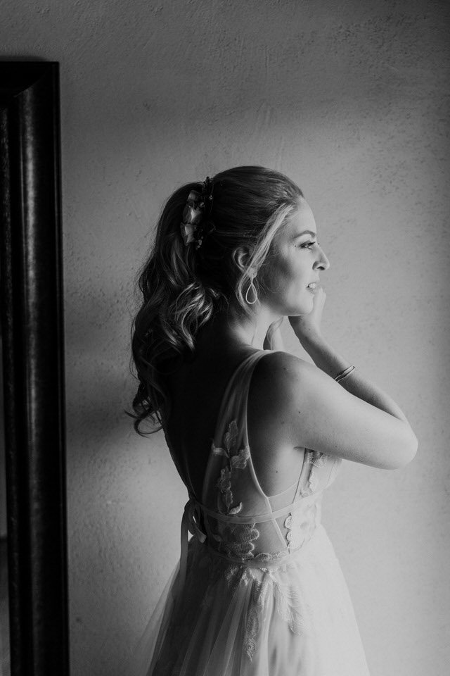 A bride gets ready for her wedding at Chateau Lill in Woodinville.